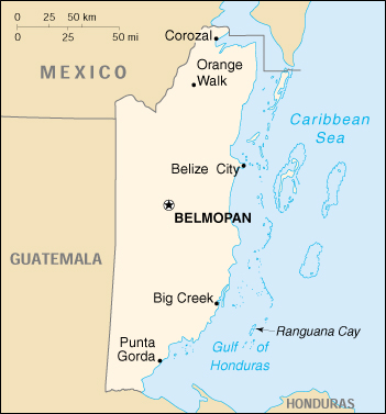 Belize Political Map.Map Of Belize