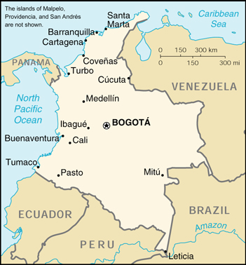 Of Colombia - Colombia map