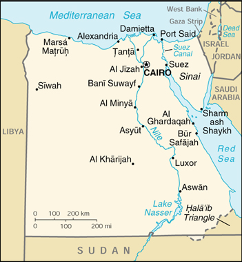 Of Egypt - Map of egypt country