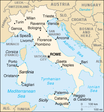 Capital Of Italy Map.Handy Map Of Italy And Its Capital City Rome