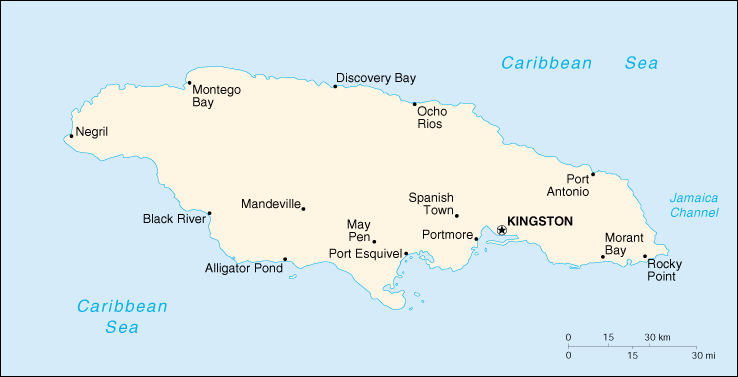 Of Jamaica - Jamaica political map 1968