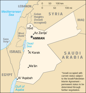 Political Map Of Jordan.Map Of Jordan