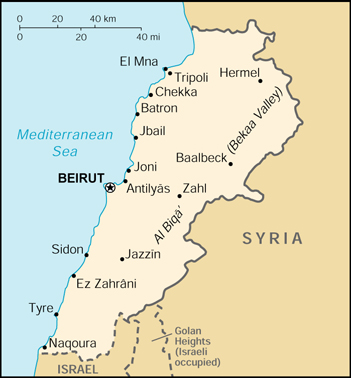 Of Lebanon - Lebanon map