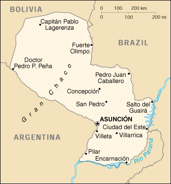 Of Paraguay - Map of paraguay