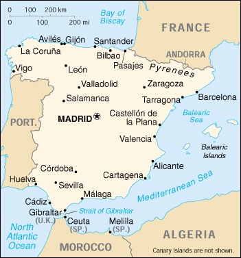 Map Of Spain Political.Map Of Spain