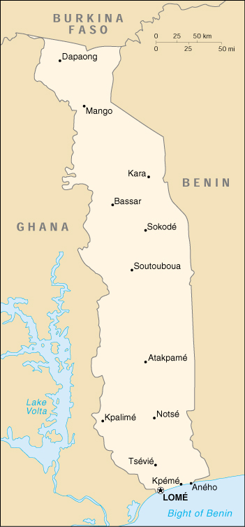 Map of Togo Togo Map on