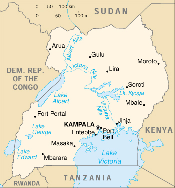 Of Uganda - Uganda map